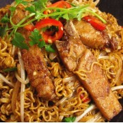 Pork Chop or Chicken Steak with Stir-Fried Instant Noodles or Udon in XO Sauce - Causeway Bay