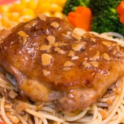 Pork Chop or Steak or Chicken Steak in Garlic Sauce with Rice or Spaghetti - Causeway Bay